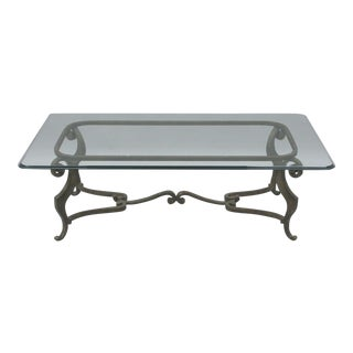 """Heavy Iron Metal Scroll Decorator Coffee Table Glass Top Distressed Finish 54"""" For Sale"""