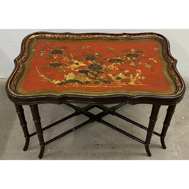 19th Century Papier Mache English Chinoiserie Tray Table For Sale - Image 9 of 9