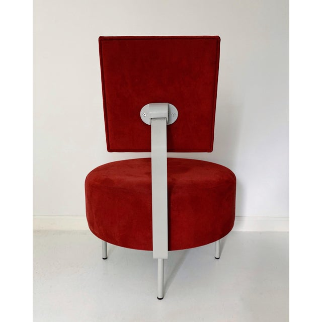 1980's Vintage Andrew World Contemporary Red Round Lounge Chair For Sale - Image 4 of 6