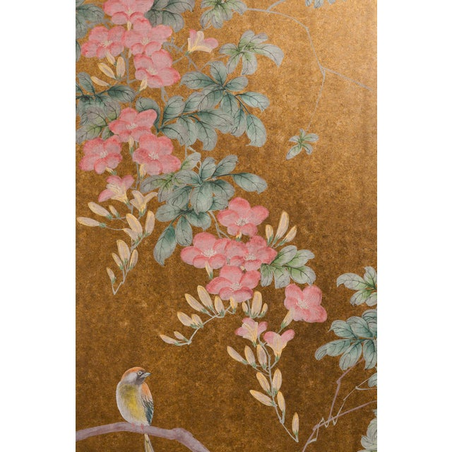 """Metal """"Sparrows With Cherry Blossom"""" 4-Panel Paint on Gold Foil Chinoiserie Hanging Screen For Sale - Image 7 of 11"""