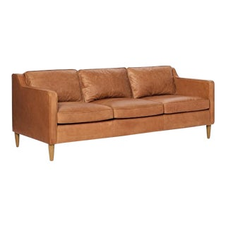 Chic Tan Leather Sofa For Sale