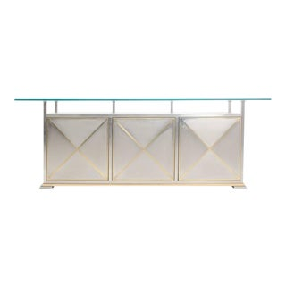 Maison Jansen Credenza with Floating Glass Top For Sale