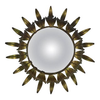 Spanish Sunburst Mirror With Convex Glass For Sale