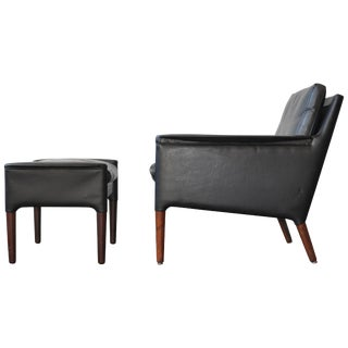 Kurt Ostervig Leather Lounge Chair and Ottoman For Sale