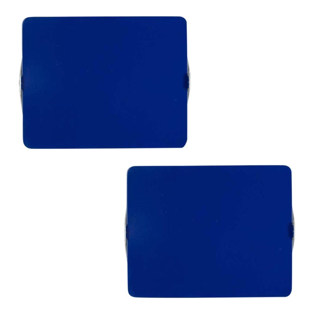 Charlotte Perriand Blue 'Applique á Volet Pivotant' Wall Lights - a Pair For Sale