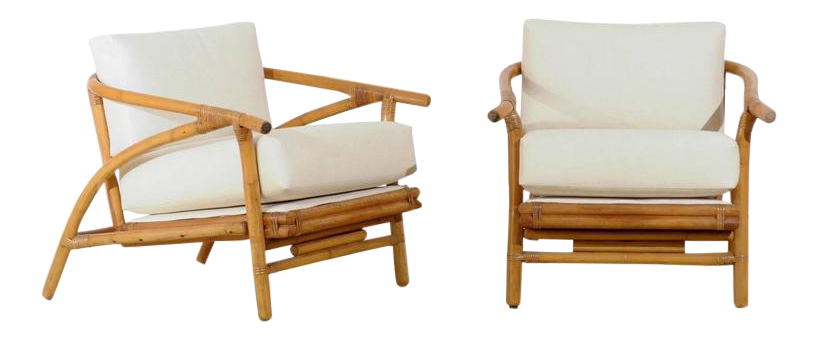 Stylish Pair Of Modern Lounge Chairs By Ficks Reed For Sale