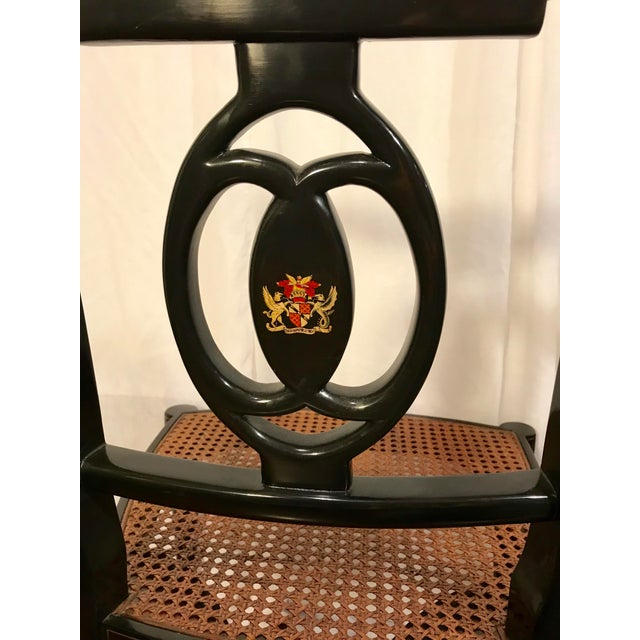 Early 20th Century Early 20th Century Hand Painted Black Lacquered Regency Chairs- a Pair For Sale - Image 5 of 11