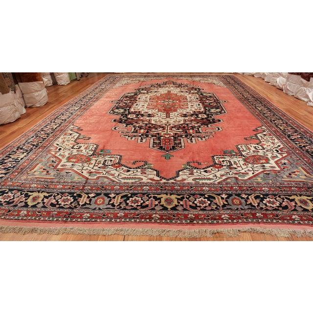 Large Vintage Persian Silk Heriz Rug - 13′1″ × 19′ For Sale - Image 10 of 11