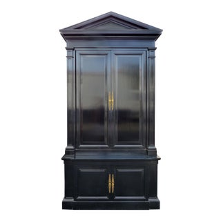 Monumental Black Lacquered Tall Cabinet With Pediment For Sale