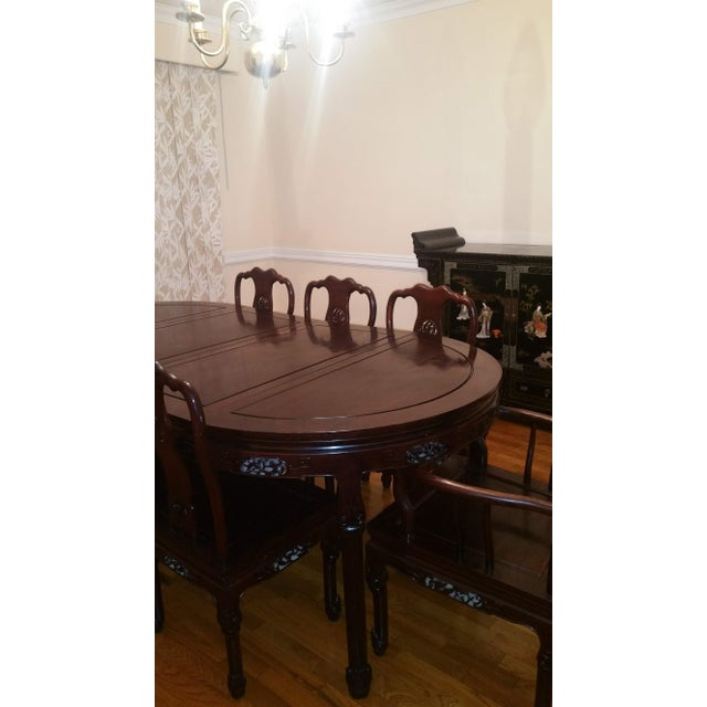 Chinese Vintage Chinese Rosewood Carved Dining Set For Sale - Image 3 of 13