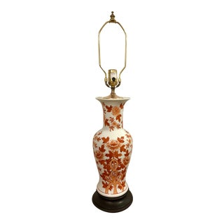 Mid Century Chinoiserie Red and White Asian Ginger Jar Painted Lamp For Sale