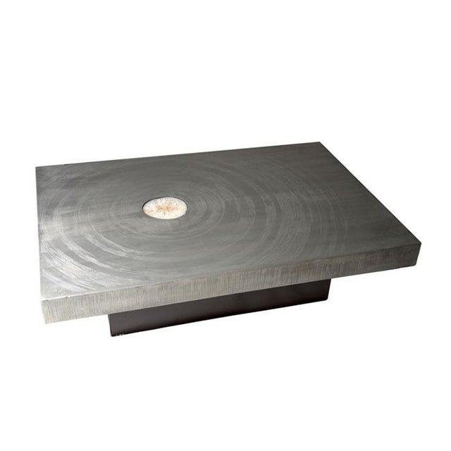 1970s Belgian Etched Aluminum and Agate Coffee Table, by Marc d'Haenens For Sale In New York - Image 6 of 6
