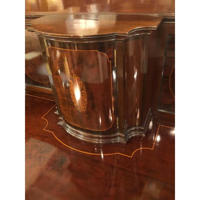 Sheraton Flame Mahogany 19th Century Sideboard Buffet With Inlaid Backsplash Top For Sale - Image 9 of 13