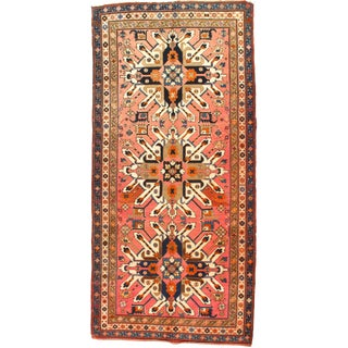 Late 19th Century Antique Russian Eagle Kazak Area Rug - 4′8″ × 9′9″ For Sale