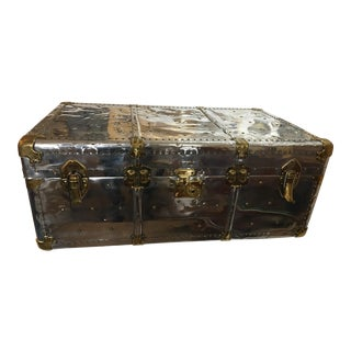 Magnificent Old English Polished Aluminum Trunk