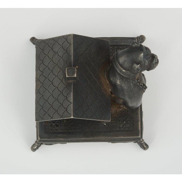 1910s Victorian Figural Quadruple Silver-Plated Bulldog Napkin Holder For Sale - Image 5 of 6