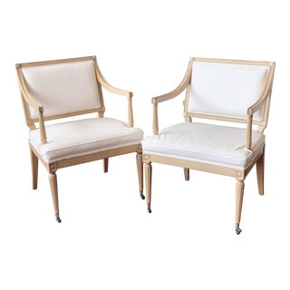 White Leather Neoclassical Armchairs - a Pair For Sale