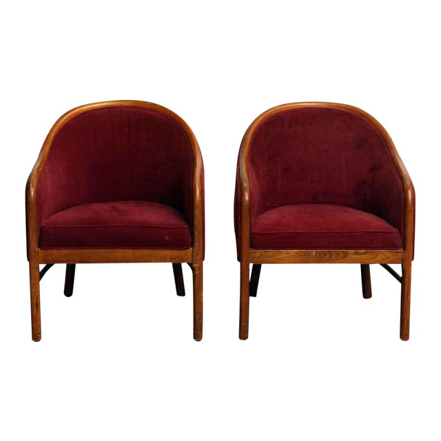 Shelby Williams Industries Red Upholstered Chairs - A Pair - Image 1 of 7