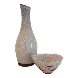 Roche Mid-Century Ceramic Vase and Bowl