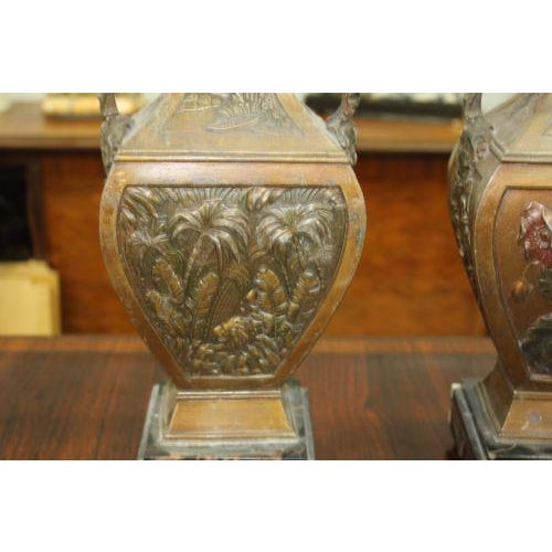 Brass Big Pair of French Art Deco Vase With Marble Base Circa 1935s For Sale - Image 7 of 10