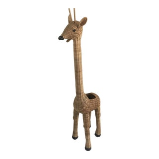 1980s Vintage Rattan Giraffe Model Planter For Sale