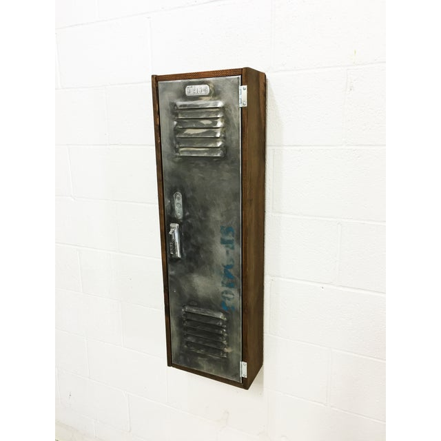 Industrial Wood & Brushed Metal Wall Cabinet - Image 5 of 6