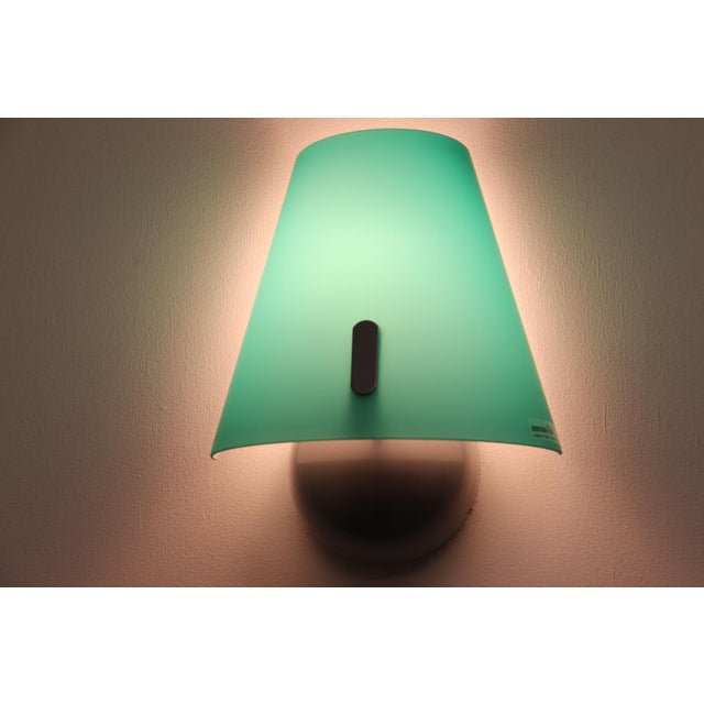 Itre Mid-Century Modern Murano Green Glass Wall Lamp For Sale - Image 4 of 12