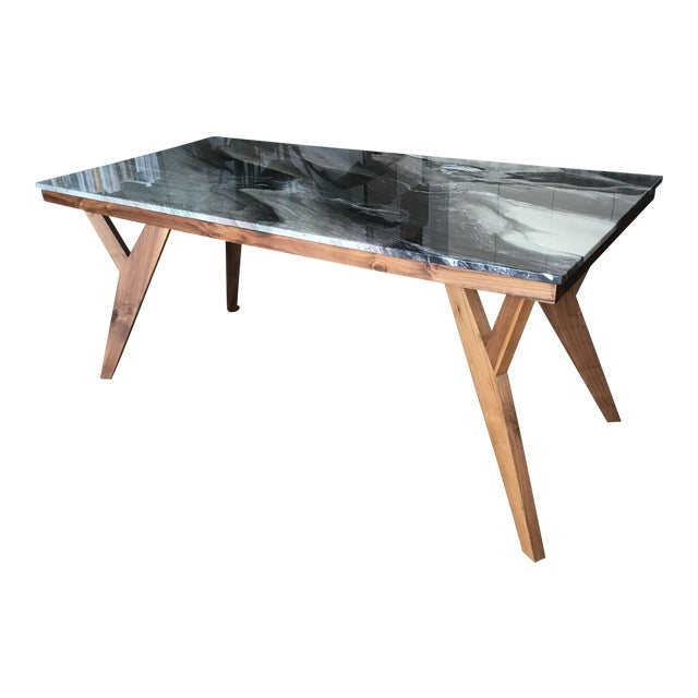 Mid-Century American Marble Top Walnut Table - Image 1 of 7