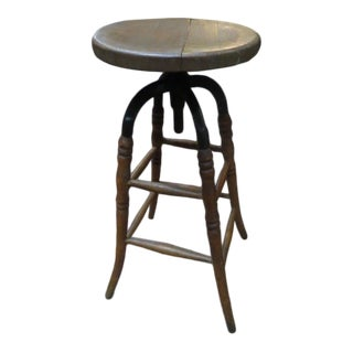 1900s Vintage Antique Oak and Steel Tall Industrial Stool For Sale