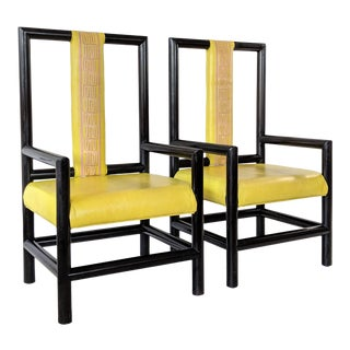 Vintage Viceroy Hotel High Back Asian Style Chairs - a Pair For Sale