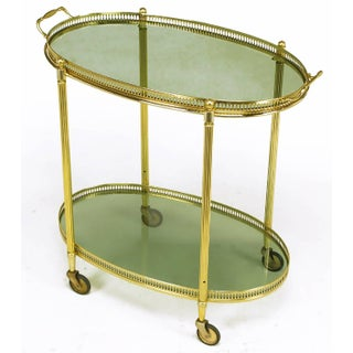 Pierced and Reeded Brass Two-Tier Oval Tray-Top Bar Cart Preview