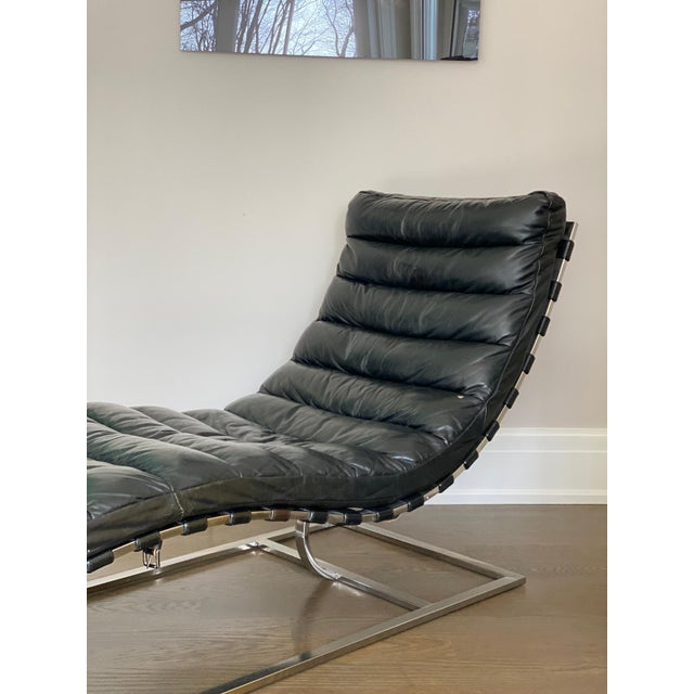 Oviedo black leather chaise from RH.