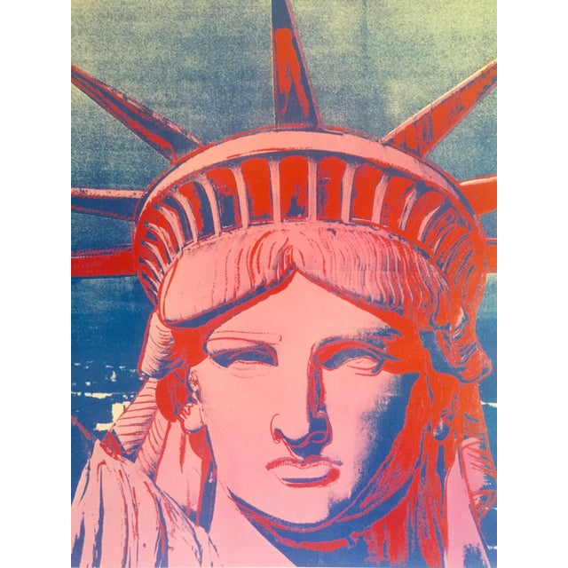 """Andy Warhol Rare 1986 Lithograph Print Paris Exhibition Poster """" 10 Statues of Liberty """" For Sale - Image 10 of 13"""