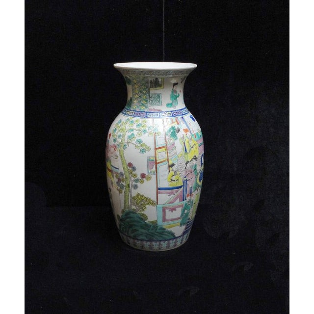 Chinese Color Figure Gathering Porcelain Vase - Image 3 of 6