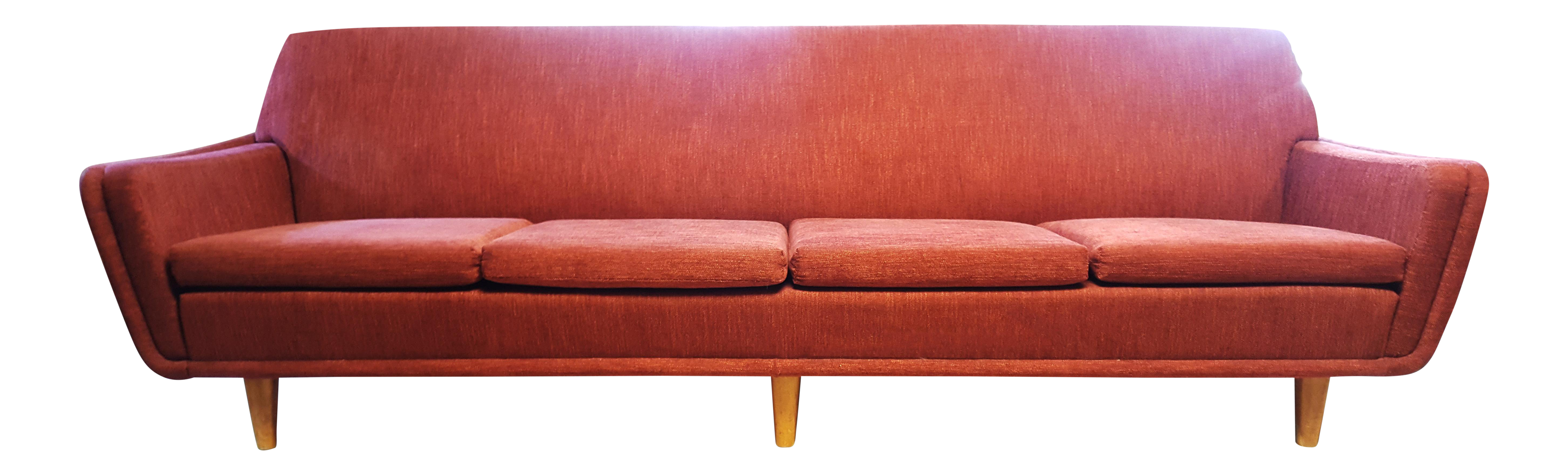 Mid Century Modern Swedish Space Age Folke Ohlsson For Dux Red Sofa
