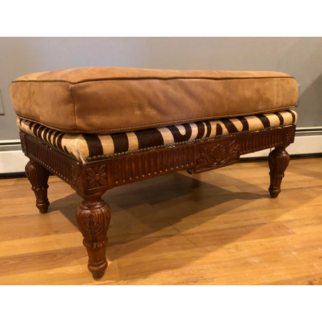Maitland Smith Mahogany, Leather and Zebra Print Sofa and Ottoman For Sale - Image 11 of 13