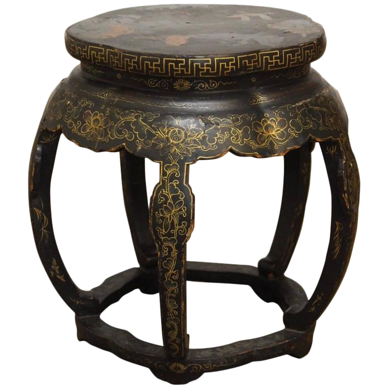 Chinese Black Lacquer Garden Stool Side Table