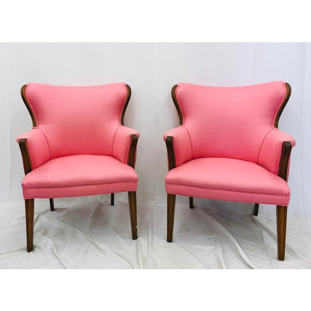 Stunning Pair Early Vintage Wooden Framed Wingback Style Arm Chairs upholstered in Vintage Hot Pink Silk Fabric. Original...