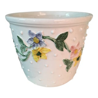 20th Century Italian Raised Dot Hand Painted Ceramic Cache Pot