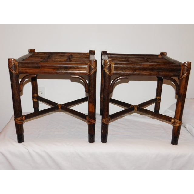 Vintage McGuire Rattan Benches - Pair - Image 8 of 10