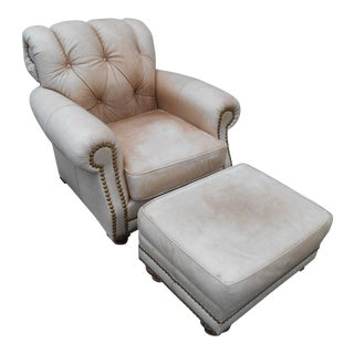 Leathercraft Club Chair & Ottoman Set For Sale
