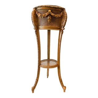 Cane and Carved Wood Plant Stand With Drape Decoration For Sale