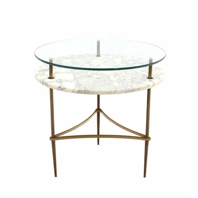 Contemporary Two Tier Brass Marble & Glass Top Occasional Table For Sale - Image 3 of 7