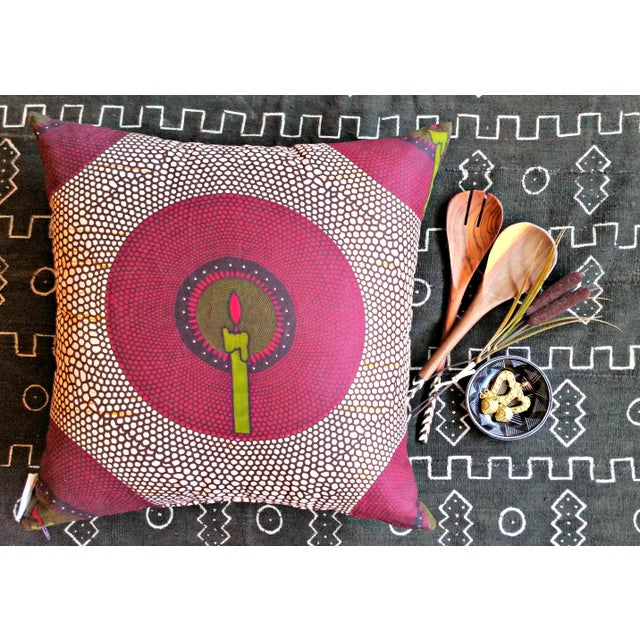 African African Print Candlelit Fabric Pillow Covers - a Pair For Sale - Image 3 of 4