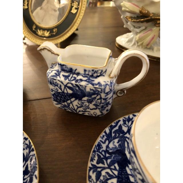 Ceramic Staffordshire Peacock Pattern English Tea Set For Sale - Image 7 of 13
