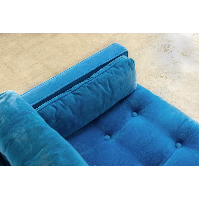 Mid Century Blue Velvet Upholstered Three-Seat Sofa Couch 1970s For Sale In Detroit - Image 6 of 11