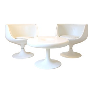 1960s Space Age Eero Aarnio for Asko White Fiberglass Tulip Chair Set - Set of 3