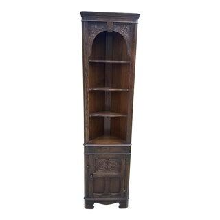 1940s English Oak Corner Cabinet Display Cabinet Bookcase Sierra 2 of 2 For Sale