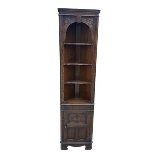 English Oak Corner Cabinet Display Cabinet Bookcase 2 of 2 1940s For Sale