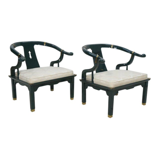 Pair of Green Lacquered James Mont Asian Style Lounge Armchairs by Century, Signed For Sale